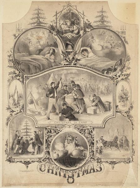 """Christmas"" engraving by Louis Prang & Company circa 1862"