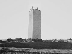 The unfinished Washington monument photographed by Mathew Brady in 1860