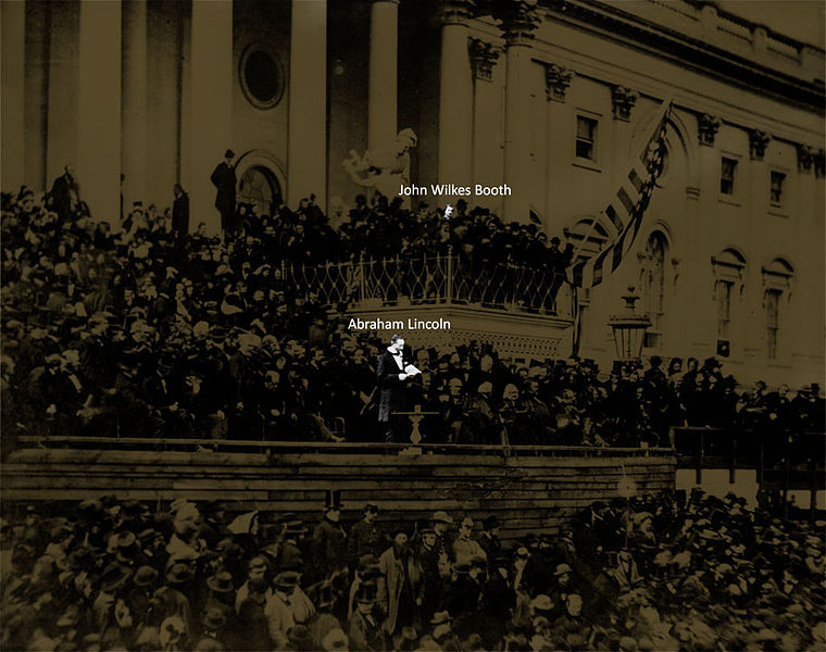 John Wilkes Booth at Abraham Lincoln's second inauguration on March 4, 1865