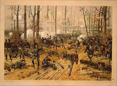 Chromolithograph of the Battle of Shiloh, circa 1888