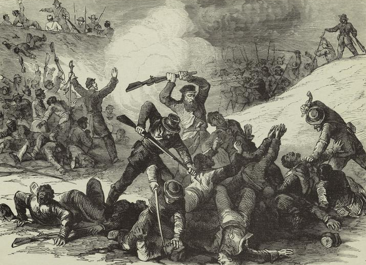 "Illustration titled ""Confederate Massacre of Federal Troops after the Surrender at Fort Pillow April 12, 1864"" published in Frank Leslie's Illustrated Weekly in 1894"