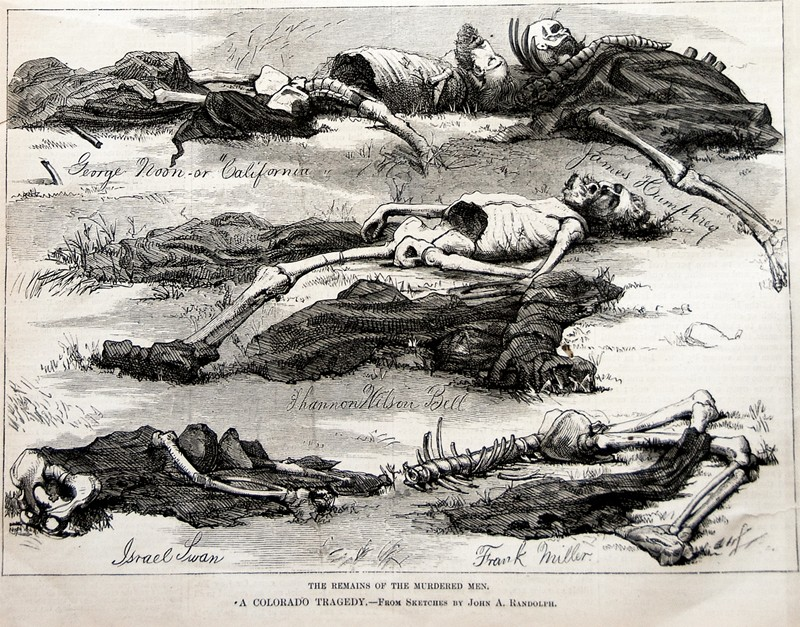 """The Remains of the Murdered Men"" Illustration by John Randolph, published in Harper's Weekly in October 1874"
