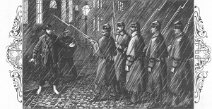 """Halt or I Fire"" illustration of Pinkerton's arrest published in ""The Spy of the Rebellion"" by Allen Pinkerton circa 1883"