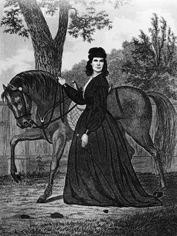"""Steel Engraving of Sarah Emma Edmonds by Geo E Perine, published in 1865 edition of """"Nurse and Female Spy in the Union Army"""""""