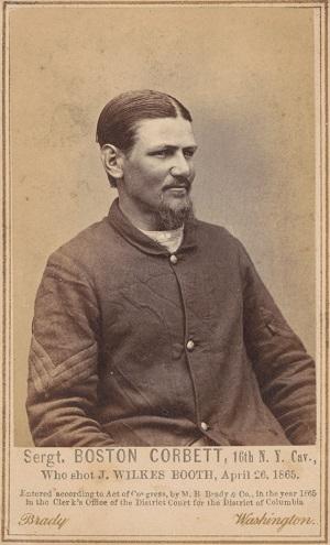 Boston Corbett photographed by Mathew Brady in 1865
