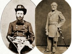 Union General Ulysses S. Grant (left) and Confederate General Robert E. Lee (right)